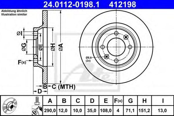 Диск тормозной ATE 24.0112-0198.1