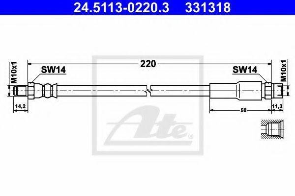 Тормозной шланг ATE 24511302203