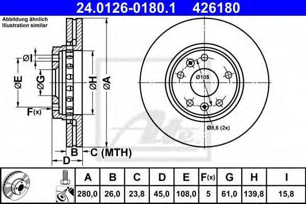 Диск тормозной ATE 24.0126-0180.1