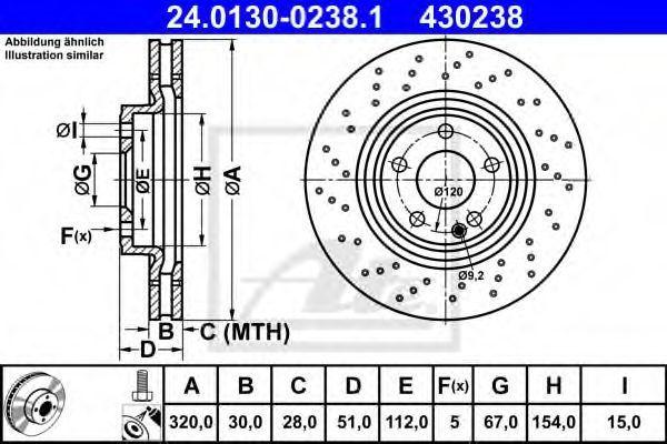 Диск тормозной ATE 24.0130-0238.1