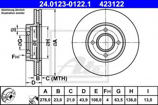 Диск тормозной ATE 24.0123-0122.1