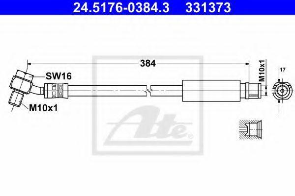 Шланг тормозной ATE 24.5176-0384.3