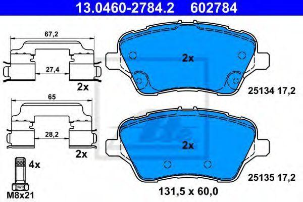 Комплект тормозных колодок, дисковый тормоз ATE 13046027842