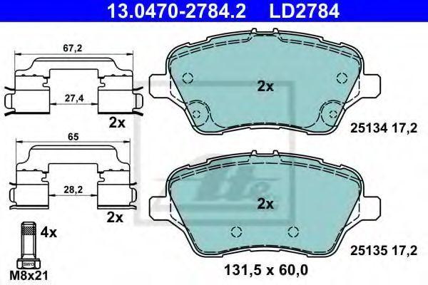 Комплект тормозных колодок, дисковый тормоз ATE 13047027842
