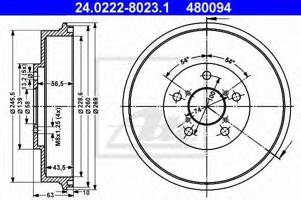 Барабан тормозной ATE 24.0222-8023.1