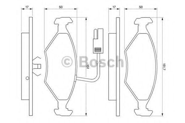Комплект тормозных колодок, дисковый тормоз BOSCH 0986424178