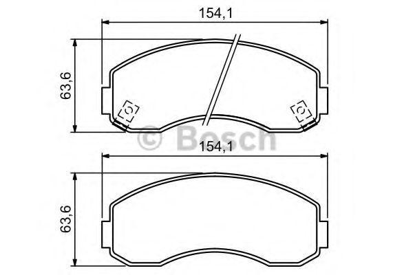 Комплект тормозных колодок, дисковый тормоз BOSCH 0986494314