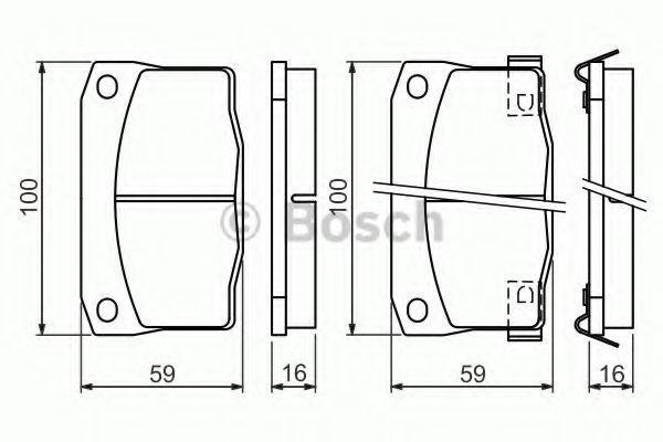 Комплект тормозных колодок, дисковый тормоз BOSCH 0986494455