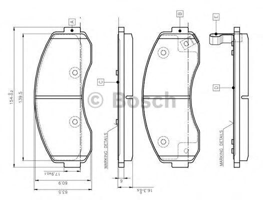 Комплект тормозных колодок, дисковый тормоз BOSCH 0986TB3045