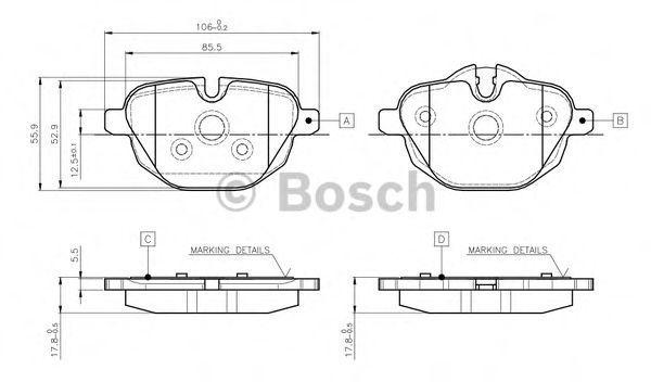 Комплект тормозных колодок, дисковый тормоз BOSCH 0986TB3139