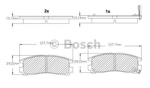 Комплект тормозных колодок, дисковый тормоз BOSCH F03B150003