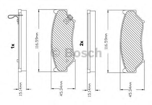 Комплект тормозных колодок, дисковый тормоз BOSCH F03B150021