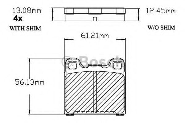 Комплект тормозных колодок, дисковый тормоз BOSCH F03B150204