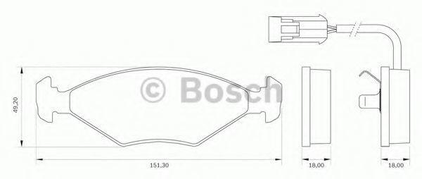 Комплект тормозных колодок, дисковый тормоз BOSCH 0986BB0005