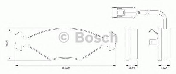 Комплект тормозных колодок, дисковый тормоз BOSCH 0986BB0006