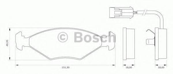 Комплект тормозных колодок, дисковый тормоз BOSCH 0986BB0007