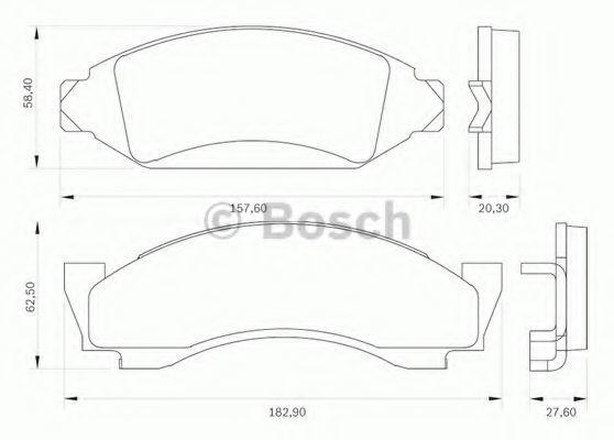 Комплект тормозных колодок, дисковый тормоз BOSCH 0986BB0012