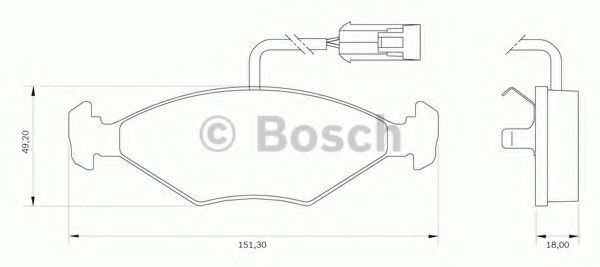 Комплект тормозных колодок, дисковый тормоз BOSCH 0986BB0027