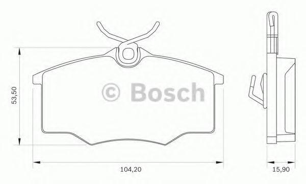 Комплект тормозных колодок, дисковый тормоз BOSCH 0986BB0046