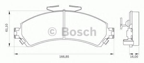 Комплект тормозных колодок, дисковый тормоз BOSCH 0986BB0066