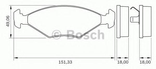 Комплект тормозных колодок, дисковый тормоз BOSCH 0986BB0261