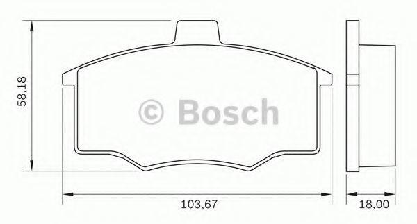 Комплект тормозных колодок, дисковый тормоз BOSCH 0986BB0262