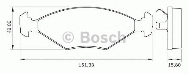 Комплект тормозных колодок, дисковый тормоз BOSCH 0986BB0263