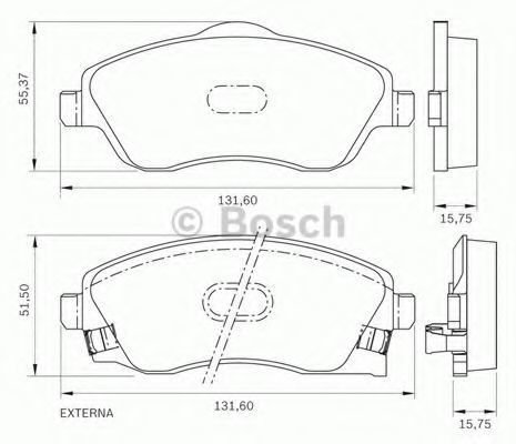 Комплект тормозных колодок, дисковый тормоз BOSCH 0986BB0270