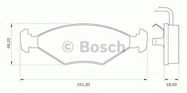 Комплект тормозных колодок, дисковый тормоз BOSCH 0986BB0271