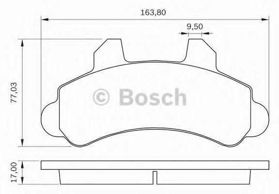 Комплект тормозных колодок, дисковый тормоз BOSCH 0986BB0283