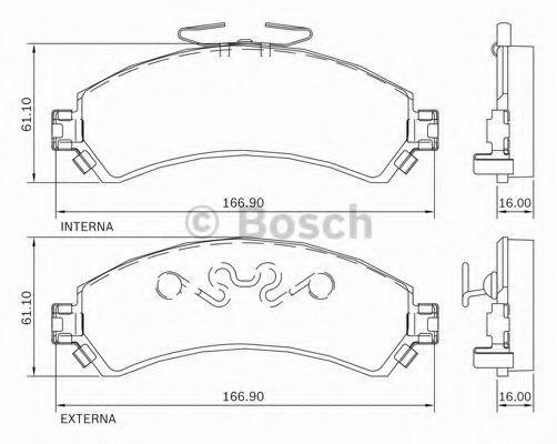 Комплект тормозных колодок, дисковый тормоз BOSCH 0986BB0731