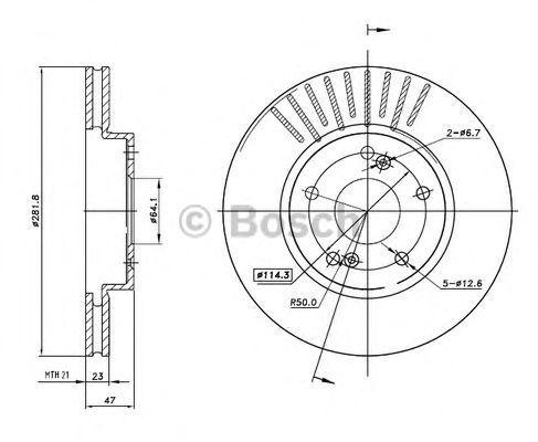 Тормозной диск BOSCH 0986BB4326