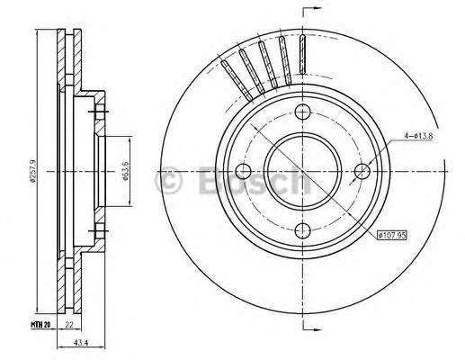 Тормозной диск BOSCH 0986BB4328