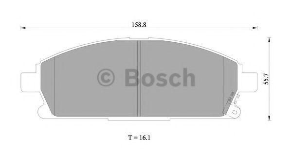 Комплект тормозных колодок, дисковый тормоз BOSCH 0986505671