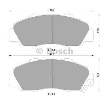 Комплект тормозных колодок, дисковый тормоз BOSCH 0986505956