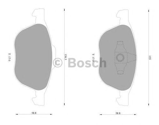 Комплект тормозных колодок, дисковый тормоз BOSCH 0986AB1005