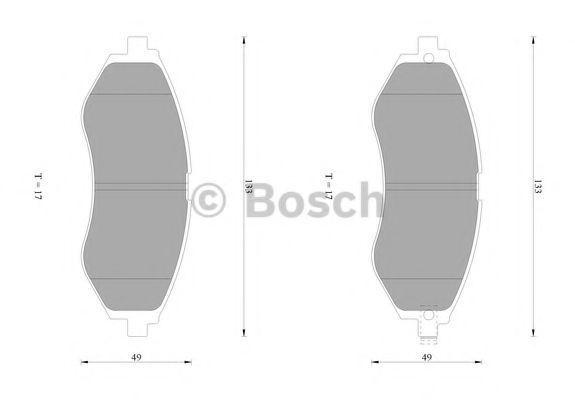 Комплект тормозных колодок, дисковый тормоз BOSCH 0986AB1432