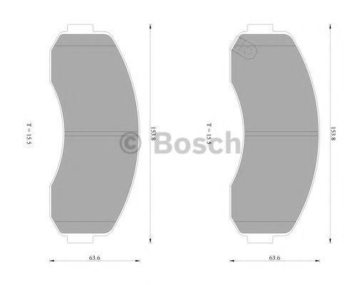 Комплект тормозных колодок, дисковый тормоз BOSCH 0986AB1464