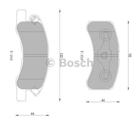 Комплект тормозных колодок, дисковый тормоз BOSCH 0986AB1467