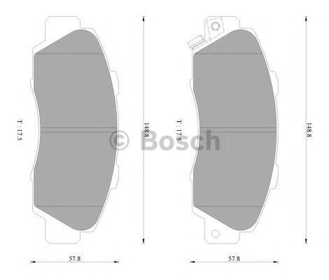 Комплект тормозных колодок, дисковый тормоз BOSCH 0986AB2204