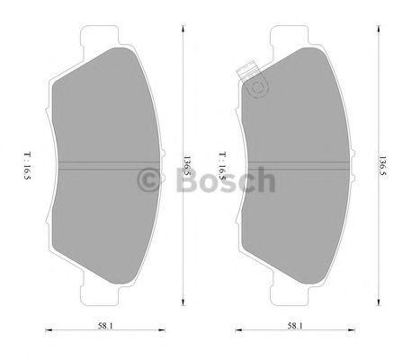 Комплект тормозных колодок, дисковый тормоз BOSCH 0986AB2377