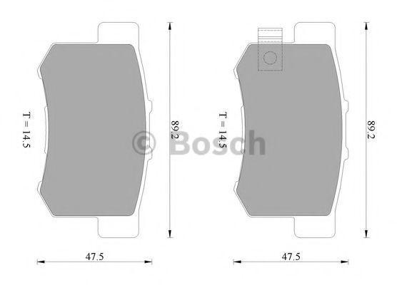 Комплект тормозных колодок, дисковый тормоз BOSCH 0986AB2553