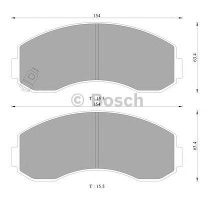 Комплект тормозных колодок, дисковый тормоз BOSCH 0986AB3030