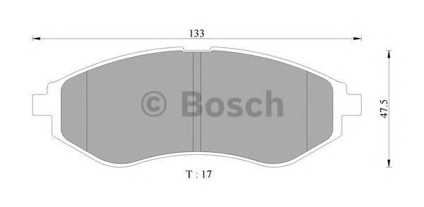 Комплект тормозных колодок, дисковый тормоз BOSCH 0986AB9104