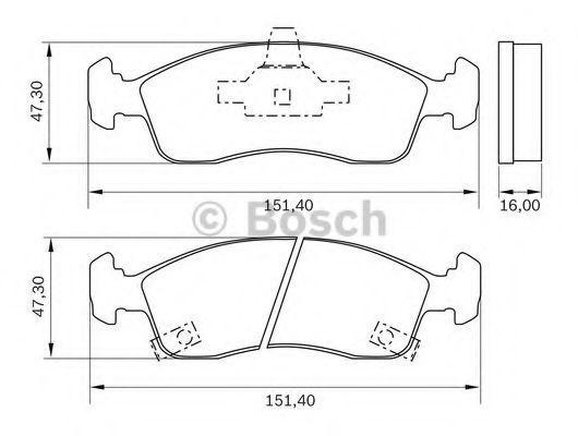 Комплект тормозных колодок, дисковый тормоз BOSCH 0986BB0982