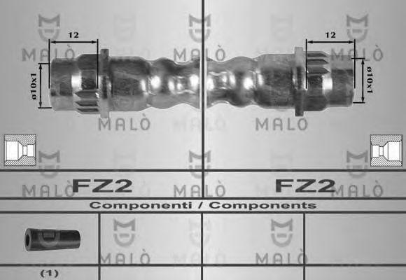 Шланг тормозной задний MALO 80329