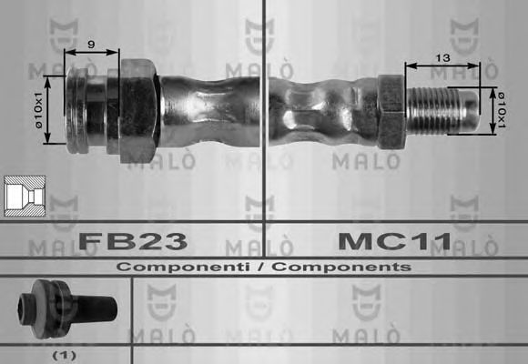 Шланг тормозной MALO 8401