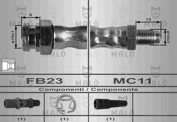 Шланг тормозной верхний MALO 8410