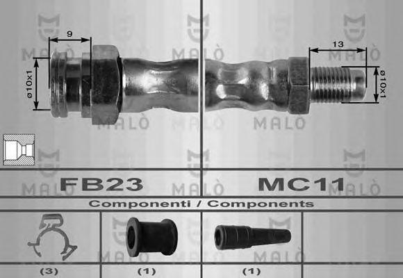 Шланг тормозной нижний MALO 8411