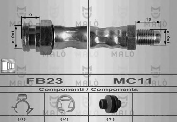 Шланг тормозной MALO 8415